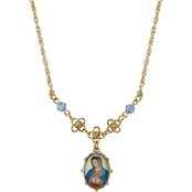 Symbols of Faith Goldtone Oval Shape Mary Necklace
