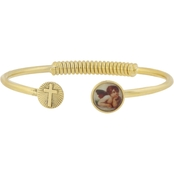 Symbols of Faith 14K Gold Dipped Cross and Cherub Bracelet with Spring Hinge