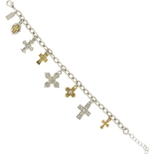 Symbols of Faith 14K Gold Dipped and Silvertone Seven Cross Charm Bracelet