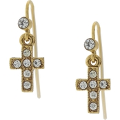 Symbols of Faith 14K Gold Dipped Crystal Cross Wire Drop Earrings