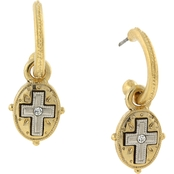 Symbols of Faith 14K Gold Dipped and Silvertone Crystal Cross Drop Hoop Earrings