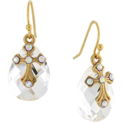 Symbols of Faith 14K Gold Dipped Crystal Briolette Cross Drop Earrings