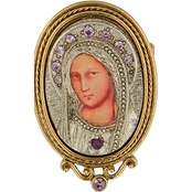 Symbols of Faith 14K Gold Dipped and Silvertone Crystal Enamel Iconica Mary Brooch