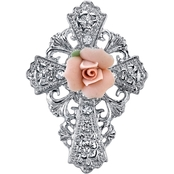 Symbols of Faith Silvertone Pink Porcelain Rose Cross Pin