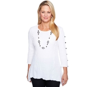 Alfred Dunner Gauze Tunic with Necklace