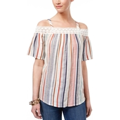 Style & Co. Striped Off the Shoulder Top