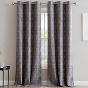 1888 Mills Linen Textured Print Single Blackout Curtain Panel with Grommets