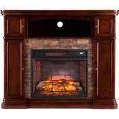 Southern Enterprises Hillcrest Quartz Infrared Electric Fireplace Media Stand