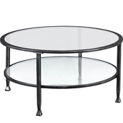 Southern Enterprises Metal and Glass Round Cocktail Table