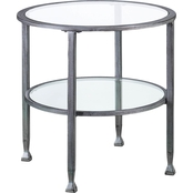 Southern Enterprises Metal and Glass Round End Table