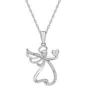 Sterling Silver 1/10 CTW Angel Hold a Heart Pendant