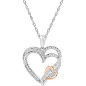Sterling Silver 1/5 CTW Triple Heart Pendant