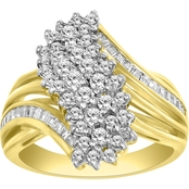 10K Yellow Gold 1 CTW Round & Baguette Ring, Size 7