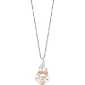Disney Enchanted Sterling Silver 10K Rose Gold Diamond Accent Belle Rose Pendant