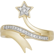 Disney Enchanted 10K Yellow Gold 1/5 CTW Diamond Tinkerbell Ring, Size 7