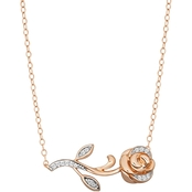 Disney Enchanted 10K Rose Gold 1/10 CTW Diamond Belle Rose Necklace