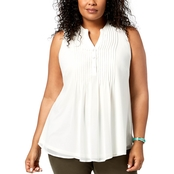 Charter Club Plus Size Pintuck Pleat Top