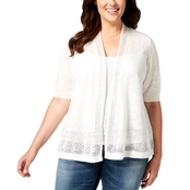 Charter Club Plus Size Open Front Pointelle Cardigan Sweater