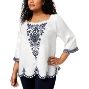 Charter Club Plus Size Linen Embroidered Peasant Top