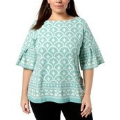 Charter Club Plus Size Printed Bell Sleeve Top