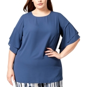 Alfani Plus Size Ruffled Sleeve Top