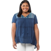 Cherokee Plus Size Textured Embroidered Peasant Top