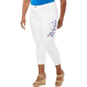 Cherokee Plus Size Embroidered Capri Jeans