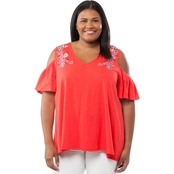 Cherokee Plus Size Embroidered Cold Shoulder Top