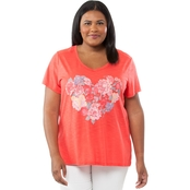 Cherokee Plus Size Raw Edge Graphic Tee