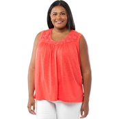 Cherokee Plus Size Raw Edge and Crochet Tank Top