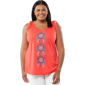 Cherokee Plus Size Shoulder Tie Graphic Tank Top