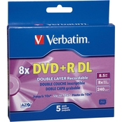 Verbatim DVD+R DL 8.56GB 8X with Branded Surface and Jewel Case 5 pk.