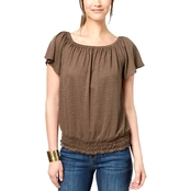Style & Co. Petite Smocked Off the Shoulder Top