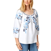 Charter Club Linen Embroidered Peasant Top