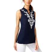 Charter Club Embroidered Linen Tunic