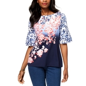 Charter Club Printed Flutter-Sleeves Top