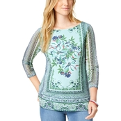 Charter Club Petite Printed Boat Neck Top