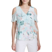 Calvin Klein Mixed Print Cold Shoulder Top with Ruffles