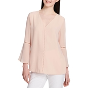 Calvin Klein V Neck Top with Pearl Detail