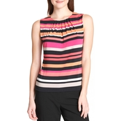 Calvin Klein Collection Stripe Pleat Neck Top