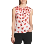 Calvin Klein Collection Floral Pleat Neck Top