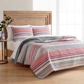 Martha Stewart Collection Rustic Yarn Dyed Stripe 100% Cotton Quilt