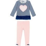 Gumballs Infant Girls 2 pc. Striped Heart Top and Leggings Set