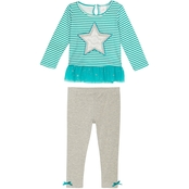 Gumballs Infant Girls 2 pc. Striped Star Top and Leggings Set