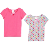 Gumballs Infant Girls Solid and Star Print Tee 2 pk.