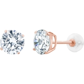 14K Rose Gold 5mm Round Cubic Zirconia Stud Earrings