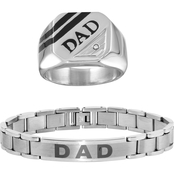 Dad Inscribed Stainless Steel Bracelet and Ring Set