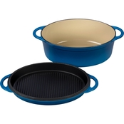 Le Creuset 4.75 Qt. Cast Iron Oval Oven and Reversible Grill Pan Lid