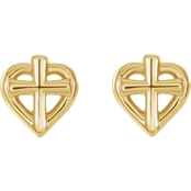 Karat Kids 14K Gold Youth Cross with Heart Earrings