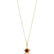 Karat Kids 14K Gold Imitation Garnet Youth Star Pendant